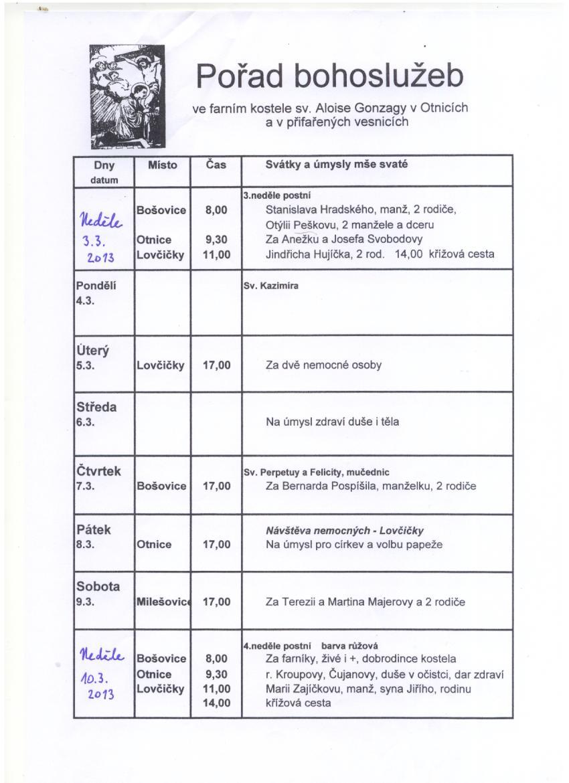 Pořad bohoslužeb 3.3. až 10.3.2013